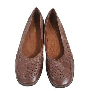 Auditions Brown Perforated Leather Flats 8M